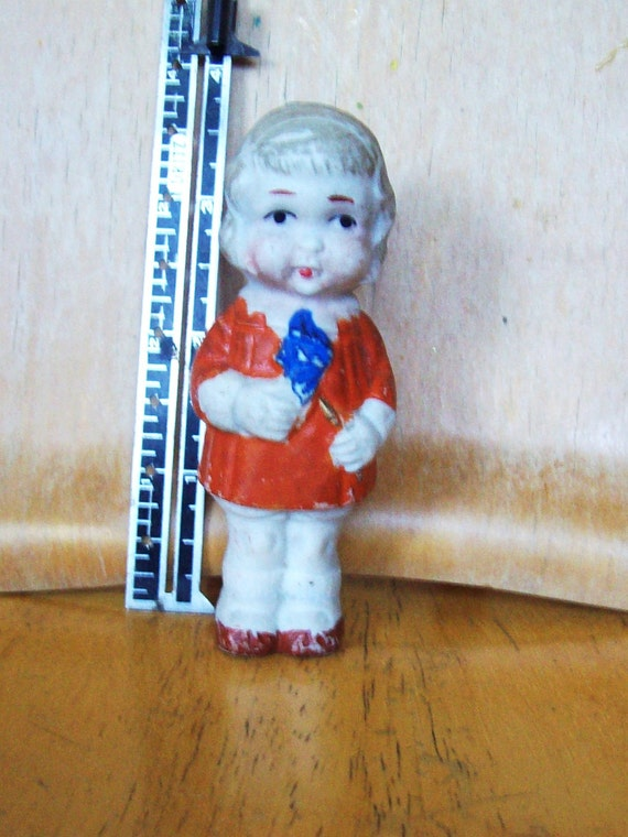 little girl red dress, Annie Japan Vintage frozen Charlotte, Bisque doll. was 10.00