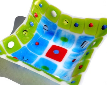 Retro shaped blue green and red patchwork fused glass bowl
