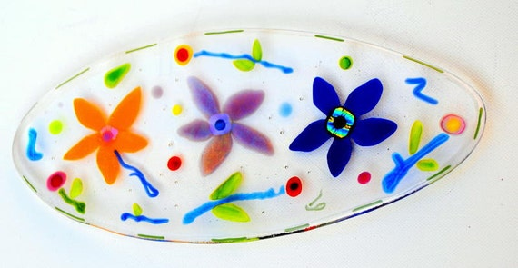 Small oblong colorful flower dish