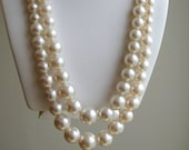 Vintage pearl necklace 1970s large pearls,  Matinee length
