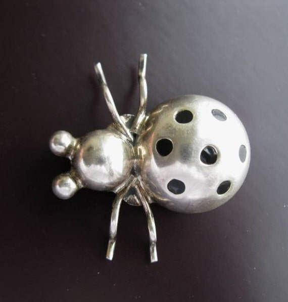 Vintage Taxco Brooch sterling silver ladybug with enamel dots