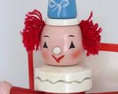 Vintage red hair clown lamp