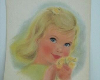 Children's print vintage Little Girl with Dandelions bedroom nursery decor