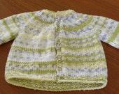 Baby Cardigan  Hand Knitted in Fair Isle Effect Yarn