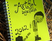 CLEARANCE 2012 green trouble planner by An Artful Agenda- with hand-drawn images for each day of the year