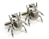 A PAIR OF SUPER CREEPY ANTIQUED SILVER JAPANESE DEATH BEETLE CUFF LINKS - GhostLove EXCLUSIVE DESIGN