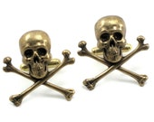 ON SALE Gothic Wedding Cuff Links - Skull Cuff Links - with Antiqued Brass Skull and Crossbones - By Ghostlove