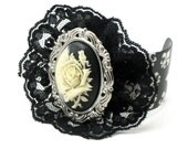 Night Shade - ELEGANT GOTHIC LOLITA WRIST CUFF with CREAM on BLACK LAYERED ROSE CAMEO and FLEUR DE LIS BAND - ONLY FROM GhostLove