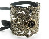 Bohemian / Boho Gothic Lolita Bracelet - Ikebana Corset Cuff with Antiqued Brass Filigree, Metal Rose, Ribbon Ties