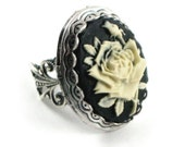Neo Victorian Cameo Rose Photo Locket Mourning Ring with Silver Plated Filigree Band in Cream on Black - By Ghostlove