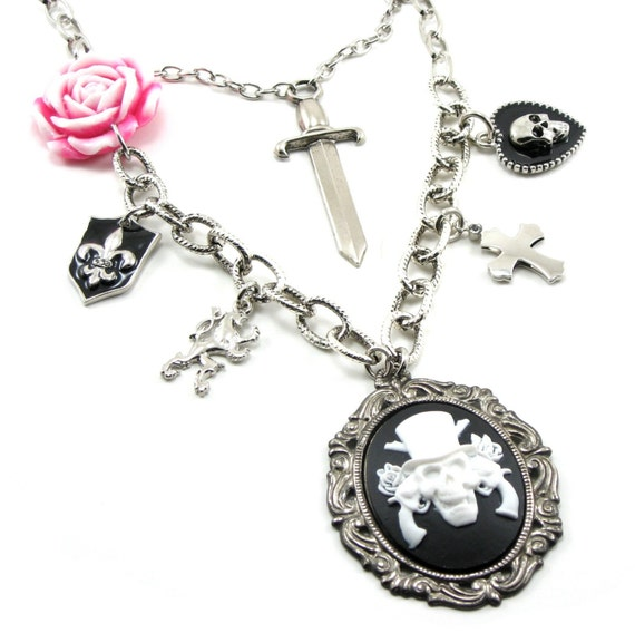 SALE was 59.00 - War of the Roses - AMAZING COUTURE NOIR GOTHIC LOLITA STYLE LAYERED CHARM NECKLACE with GUNSLINGER CAMEO PENDANT - EXCLUSIVE GhostLove DESIGN
