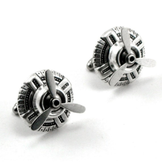 Sky Captain Cuff Links - AMAZING ANTIQUED SILVER STEAMPUNK AIR SHIP PIRATE UNISEX CUFF LINKS with SPINNING PROPELLER BLADES - PHENOMENAL WEDDING or ANNIVERSARY GIFT - ONLY FROM GhostLove