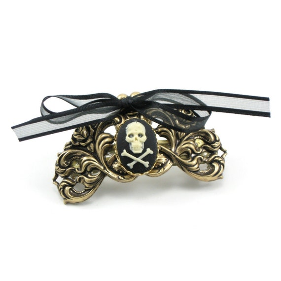 SALE Was 18.00 - Gothic Lolita French Clip with Skull and Crossbones Cameo in Cream on Black - Antiqued Brass - By Ghostlove