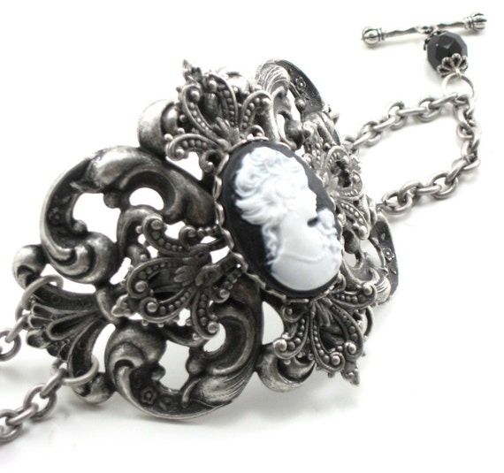 Gothic Lolita Bracelet - Cameo Bracelet - La Gothique - Layered Filigree Wrist Cuff with Crown Toggle - By Ghostlove