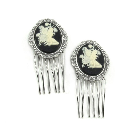 Dark Fairy Mini Hair Combs - ADORABLE Gothic Lolita Hair Accessories with Cream on Black Winged Cameo Fairies - By Ghostlove
