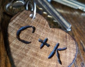 Unique Valentine Gift for Him or Her, Personalized Small Wood Heart Keychain, Key Chain