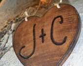 Personalized Valentines day keepsake ornament, rustic heart, engraved first initials, gift for him or her