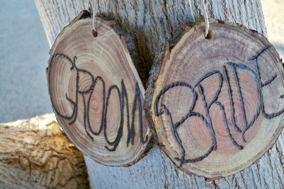Rustic Bride And Groom Wood Burned Wedding Signs For