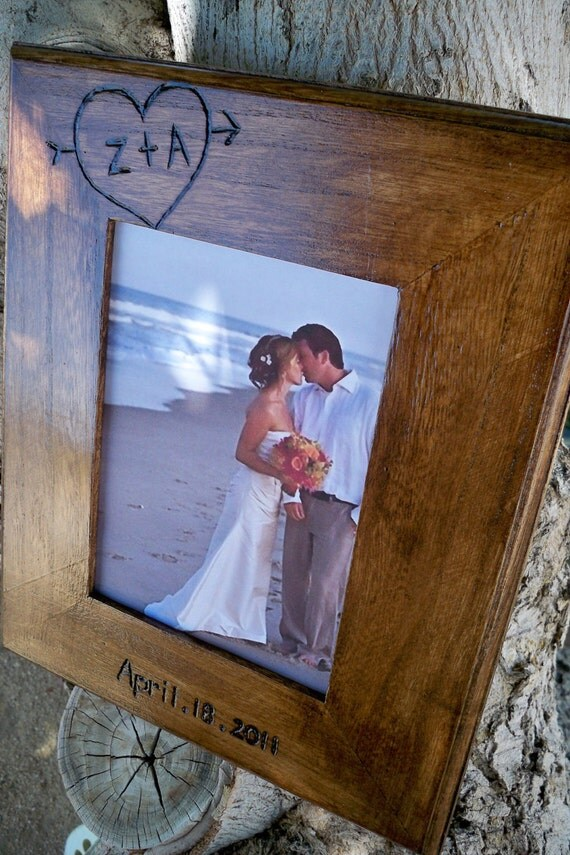 Personalized 8x10 Rustic Wedding Frame Engraved Initials And
