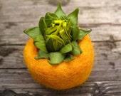 sunflower bud pot - felted bowl