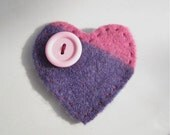 big pink stripey  heart - felt brooch