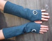 Upcycled Merino  Wool Arm Warmers Fingerless Gloves In Teal