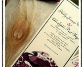 JEANNE Vintage French Style Peacock Themed Wedding Invitations in Wine Red and Ivory
