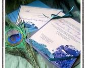 50 Custom Designed DEANNA Lovebirds Peacock Themed Wedding Invitations