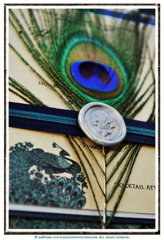 GALINA Peacock Themed Wedding Invitations in Forest Green Silver and Navy