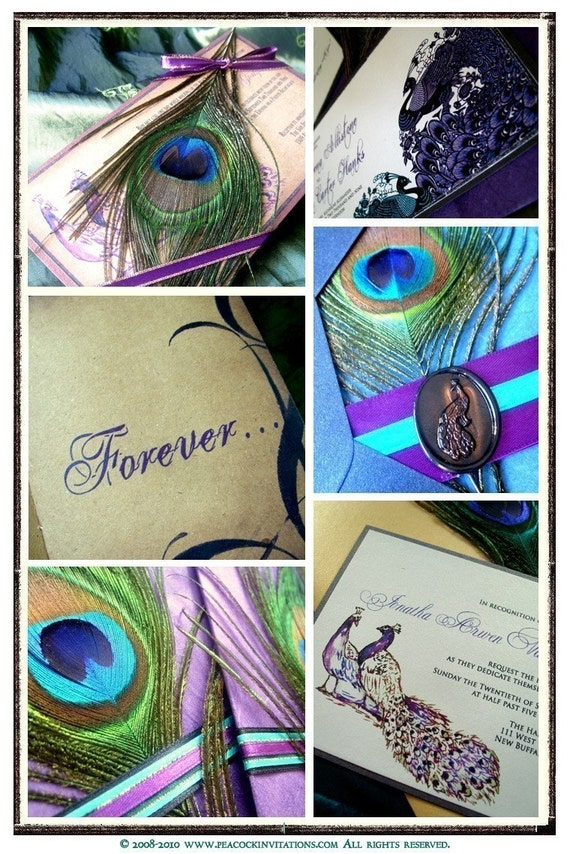 Purples and Blues Peacock Invitations Sample Pack