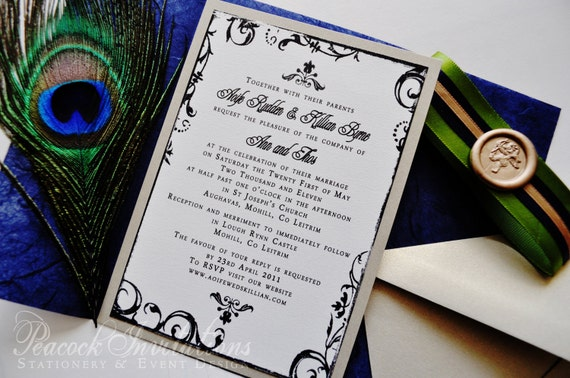 SOPHIE PARIS Rustic French Peacock Themed Wedding Invitations in Indigo Chartreuse and Gold