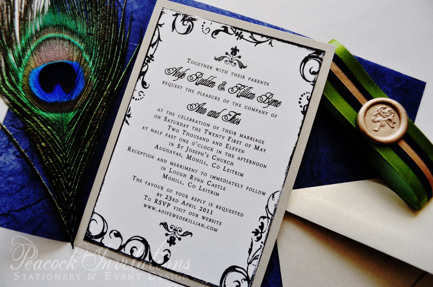 Sophie paris rustic french peacock themed wedding invitations for Peacock wedding invitations with photo