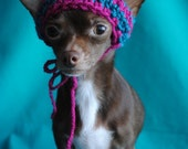X-Small Dog Beanie - Rasberry and Teal Stripes w\/White Pom