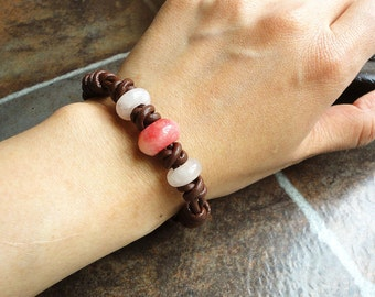 Brown Leather Bracelet with Natural Pink Stone - Rose Quartz, Candy Jade - Hand Braided Leather Jewelry, Women, Teen Girls