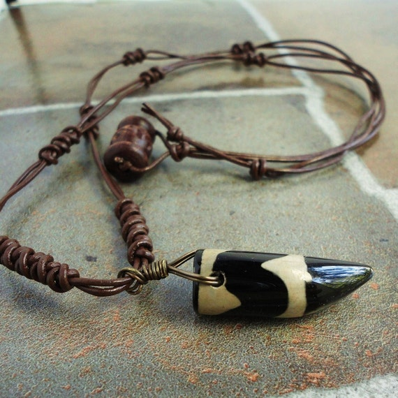 Black Agate Dzi Pendant Knotted Brown Leather Necklace, Mens Unisex Tribal Jewelry