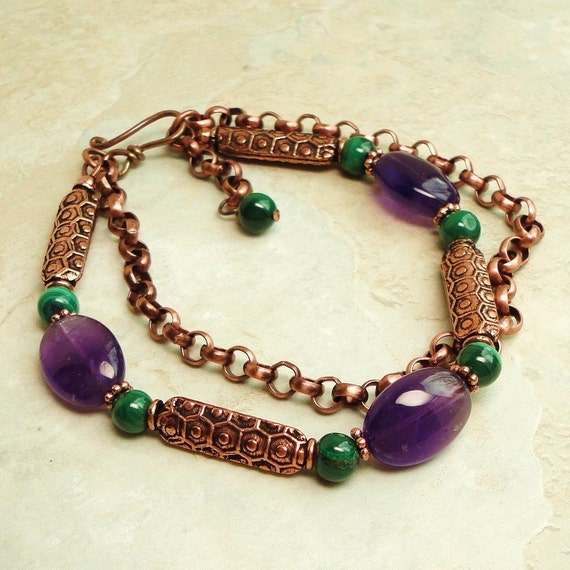 Antiqued Copper Bracelet with Amethyst  and Malachite Gemstone, Double Stranded