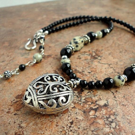 Heart Pendant Necklace with Dalmatian Jasper & Black Onyx Gemstone, Handmade Jewelry