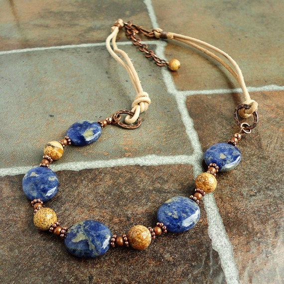 Copper Leather Necklace with Sodalite and Picture Jasper, Blue Gemstone, Handmade