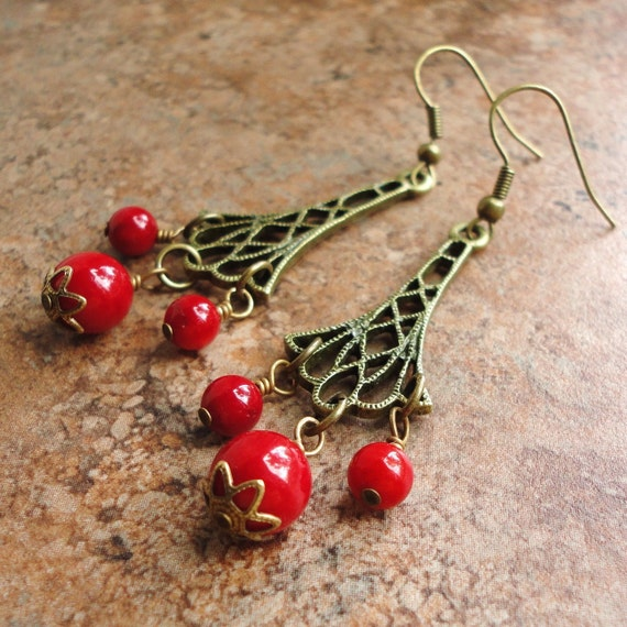 Red Coral Chandelier With 3 Lights: Red Bamboo Coral Chandelier Earrings Antiqued By