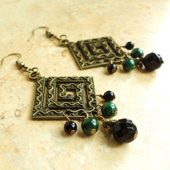 Black Onyx & Green Malachite Chandelier Earrings, Natural Gemstone Jewelry
