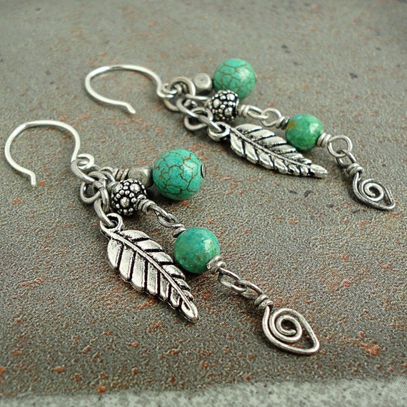 Tibetan Turquoise Charm Earrings, Sterling Silver Ear-wires, Handmade Jewelry