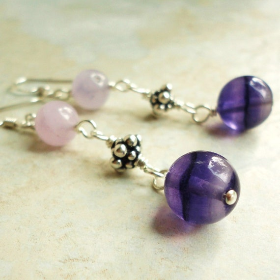 Purple Fluorite Natural Gemstone and Bali Sterling Silver Earrings, Handmade Jewelry