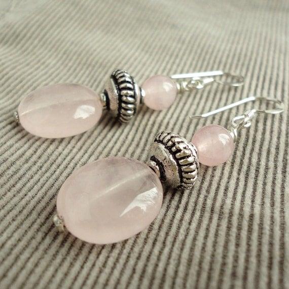 Rose Quartz Earrings, Sterling Silver Earwires, Natural Pink Gemstone Jewelry