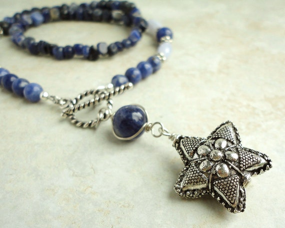 Sodalite Blue Lace Agate NECKLACE with Artisan Metal Floral Star Pendant, Handmade Jewelry