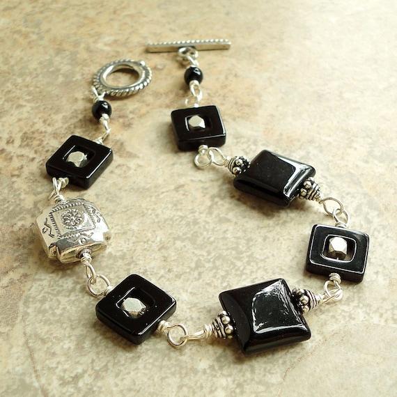 Black Onyx Bracelet, Bali Sterling Silver, Handmade Onyx Jewelry for Women, Her, Mom, Wife by Mami's Gem Studio