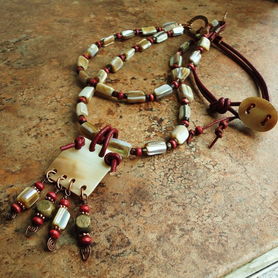 Double Strand Shell Pendant NECKLACE Leather, Wood, Copper, Tribal, Boho, Artisan Jewelry