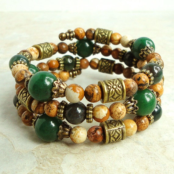 Memory Wire Bracelet, Green Aventurine, Bloodstone, Jasper, Bangle, Natural Stone