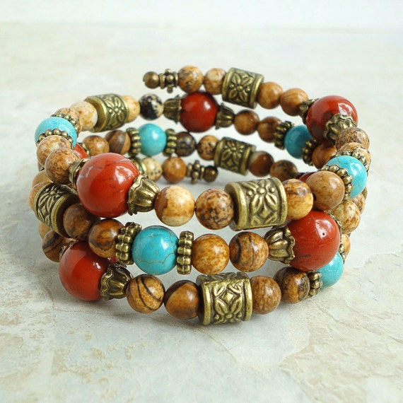 Boho Gypsy Bangle Bracelet - Turquoise, Red and Picture Jasper - Memory Wire
