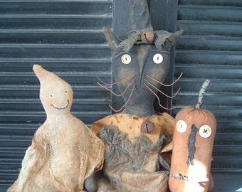 PriMitiVe HaLLoWeeN Witch Cat Ghostie JacK  Doll Set