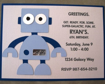 Robot Party Invitations - Set of 8